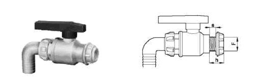 Фото и чертеж кран шаровой с ниппелем