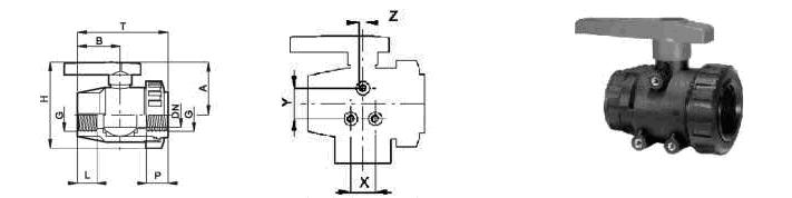 Фото, чертеж и схема сборки крана шарового проходного