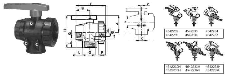 Фото, чертеж и схема сборки крана шарового трехходового