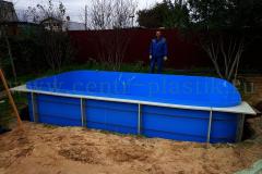 Монтаж полипропиленового бассейна 4500x2500x1500 мм в котлован на бетонную утепленную подушку