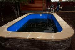 Отделка бассейна шлифованной вибро плитой