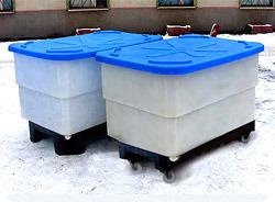 Пластиковый контейнер 500 л на тележке с полиамидными колесами (КЛ500СПТ)