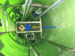 Стеклопластиковая канализационная насосная станция Germes-Plast Helyx KNS СП 1,2/5 вид внутри