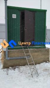 Павильон для КНС 2500х2500х2500 (вид снаружи с фановым стояком для отвода газов из корпуса КНС )